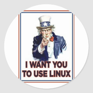 Tío Sam: Utilice Linux Pegatina Redonda