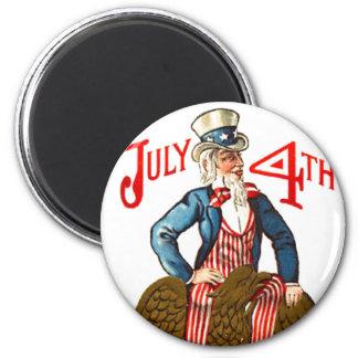 Tío Sam vintage 4 de julio patriótico Imán Redondo 5 Cm