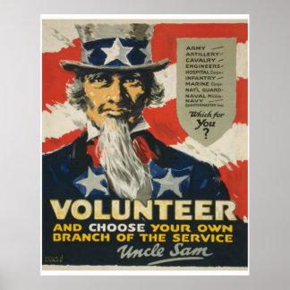 Tío Sam - voluntario Póster