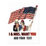 Tío Sam y señora los E.E.U.U. Postal