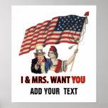 Tío Sam y señora los E.E.U.U. Posters