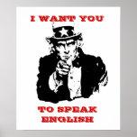 "Tío Same Poster ""quisiera que usted hablara inglés"