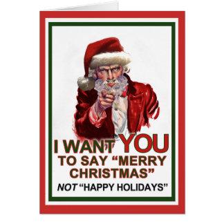 Tío Santa Wants You Card Tarjeta De Felicitación