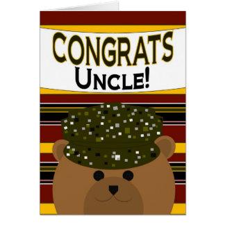¡Tío - soldado Congrats del ejército! Tarjeta De Felicitación