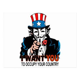 Tío V Occupy Wall Street Tarjeta Postal