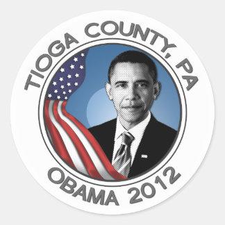 """Tioga County PA for Obama 2012 Portrait Sticker 3"""""""