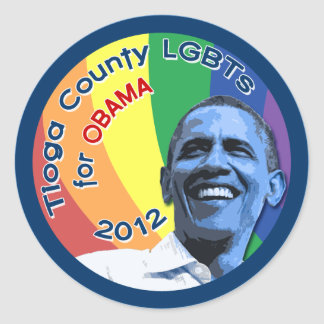 "Tioga County PA LGBTs for Obama 2012 Sticker 3"""