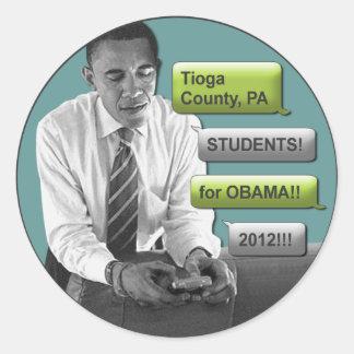 "Tioga County PA Students for Obama 2012 Sticker 3"""