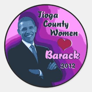 "Tioga County PA Women Heart Barack 2012 Sticker 3"""