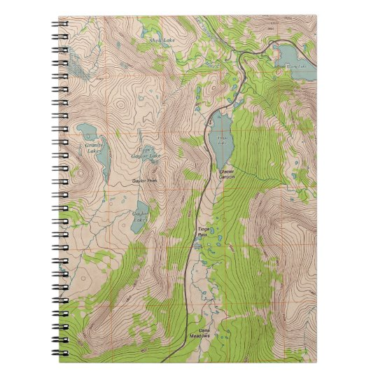 Tioga P, California Topographic Map Notebook on