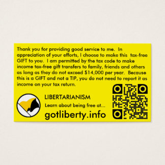 Tip and Gift like a Libertarian Business Card