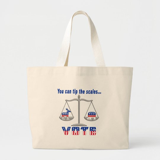 Tip the Scales Vote Large Tote Bag