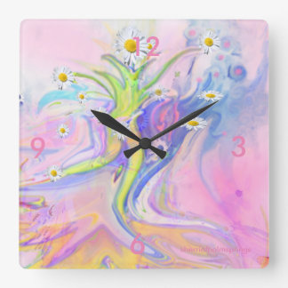 Tip Toe Through The Daisies  Square Wall Clock by
