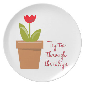 Tip Toe Tulips Plate