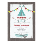 "Tipi Birthday Party Invitation Red + Turquoise 5"" X 7"" Invitation Card"