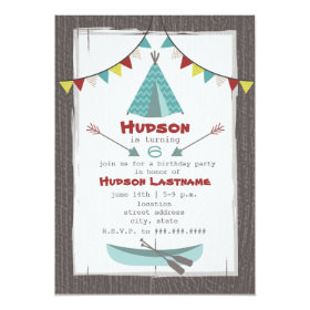 Tipi Birthday Party Invitation Red   Turquoise 5