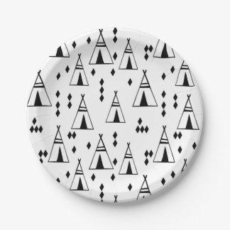 Tipi / Black White Teepee Southwest /Andrea Lauren Paper Plate