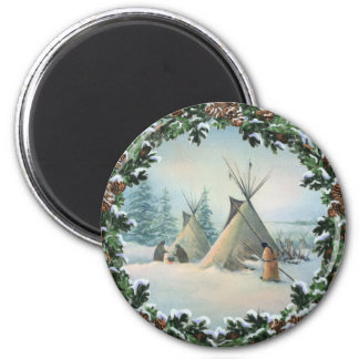 TIPI CAMP SQUAW & BOUGHS by SHARON SHARPE 2 Inch Round Magnet