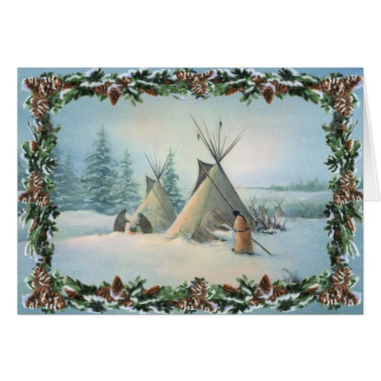 TIPI CAMP SQUAW & BOUGHS by SHARON SHARPE Card