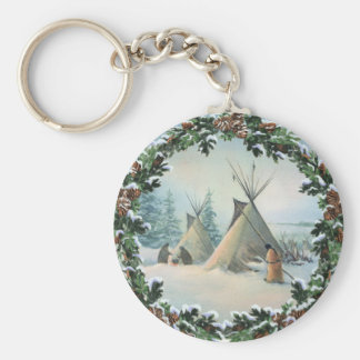 TIPI CAMP SQUAW & BOUGHS by SHARON SHARPE Keychain