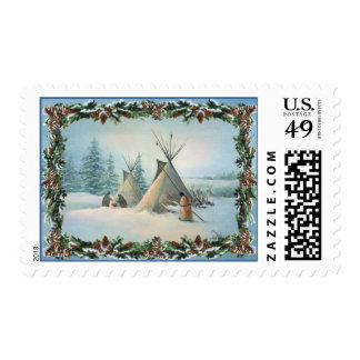 TIPI CAMP SQUAW & BOUGHS by SHARON SHARPE Postage