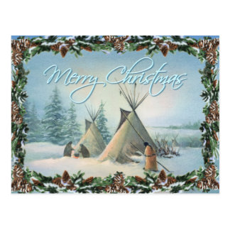 TIPI CAMP SQUAW & BOUGHS by SHARON SHARPE Postcard