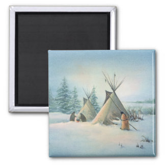 TIPI CAMP SQUAW by SHARON SHARPE 2 Inch Square Magnet