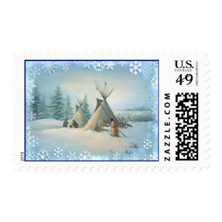 TIPI CAMP SQUAW by SHARON SHARPE Postage Stamp