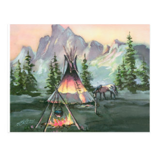 TIPI FIRE & APPALOOSA by SHARON SHARPE Postcard