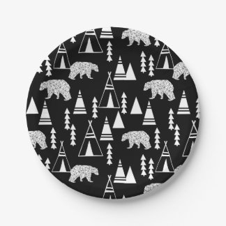 Tipi Forest Bear - Black/White / Andrea Lauren Paper Plate