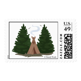 Tipi in the Woods Postage Stamp