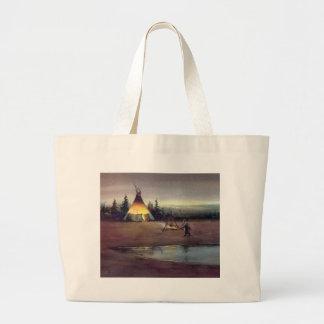 TIPI LIGHTS by SHARON SHARPE Large Tote Bag