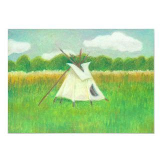 "Tipi teepee central Minnesota landscape drawing 5"" X 7"" Invitation Card"