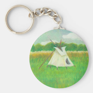 Tipi teepee central Minnesota landscape drawing Keychain