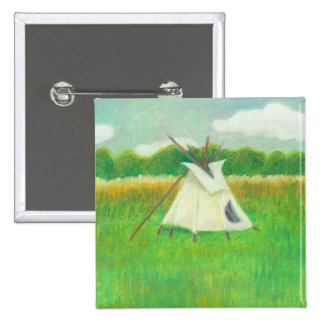 Tipi teepee central Minnesota landscape drawing Pinback Button