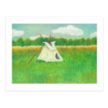 Tipi teepee central Minnesota landscape drawing Postcard