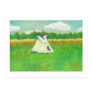 Tipi teepee central Minnesota landscape drawing Postcard