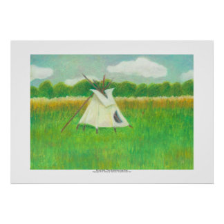 Tipi teepee central Minnesota landscape drawing Poster