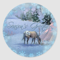 TIPI WINTER APPALOOSA & SNOWFLAKES by SHARON SHARP Classic Round Sticker