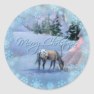 TIPI WINTER APPALOOSA & SNOWFLAKESby SHARON SHARPE Classic Round Sticker