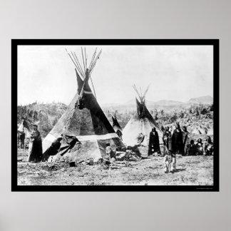Tipis 1884 del indio y de la piel del Shoshoni Posters