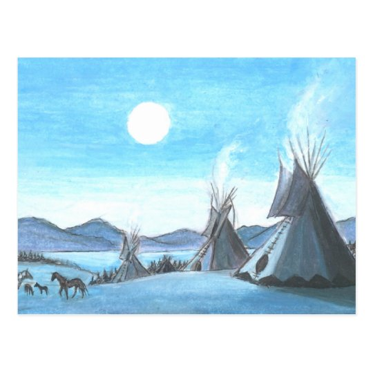 tipis in the moonlight postcard