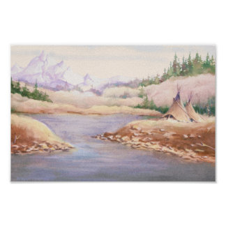 TIPIS on RIVER BANK  by SHARON SHARPE Poster