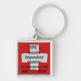 TIPO 1 del diabético del Dep de la insulina Llavero Cuadrado Plateado