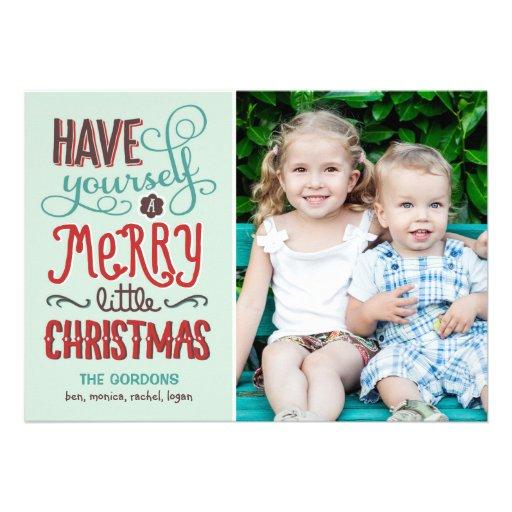 Tipo adorable tarjeta de la foto del navidad invitación personalizada