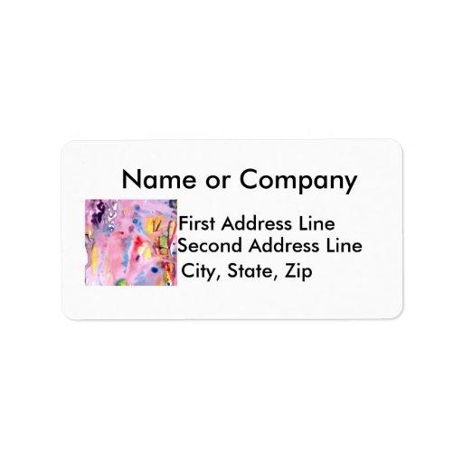 Tipo atado diseño, rosado púrpura del tinte y más etiquetas de dirección