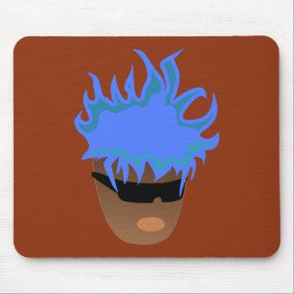 Tipo azul del pelo alfombrillas de ratón
