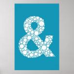 """Tipo azul poster de la burbuja del signo """"&"""" (y sí"""