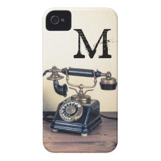 Tipo caso retro del vintage del monograma IPHONE 4 iPhone 4 Case-Mate Protectores
