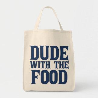 Tipo con el azul de la comida bolsa tela para la compra